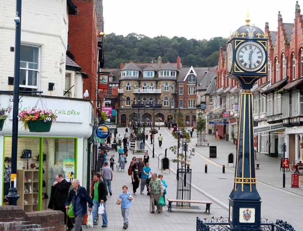 Colwyn Bay High Street - pedestrianised with people of all ages walking