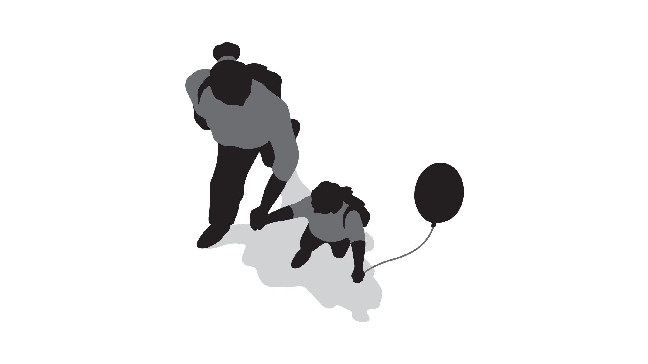 Parent and child with balloon