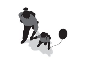 A parent and child walking