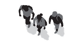Graphic of three people walking