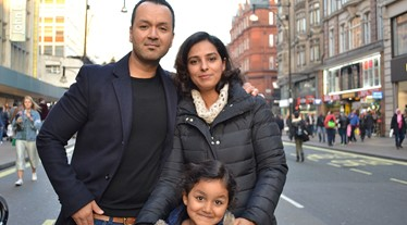 Matisse Ghaddaf and family on Oxford Street