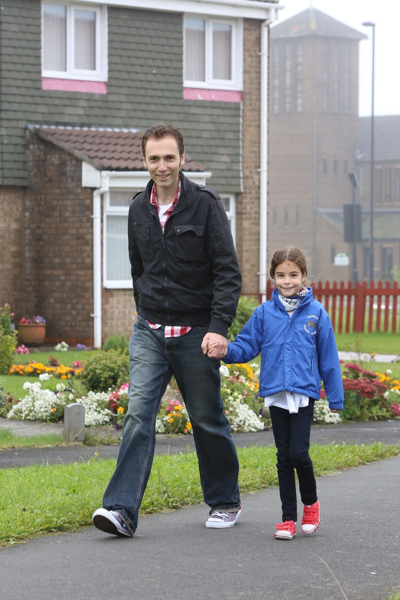 Chris and Trinity walk to school