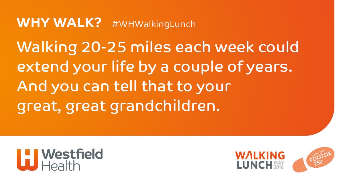 Why walk - walking 20-25 minutes each week could extend your life by a couple of years. And you can tell that to your great, great grandchildren.