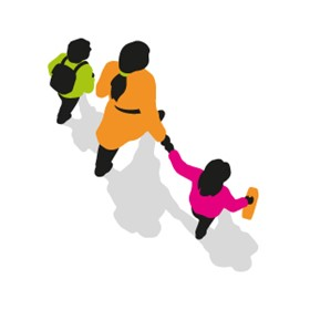 Parent and two children walking