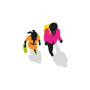Graphic of two children walking