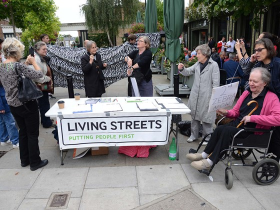 Campaigners in Islington with a stall campaigning for a new crossing