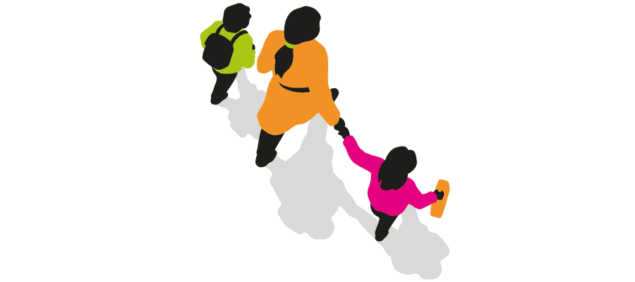 Graphic of parent walking with two children