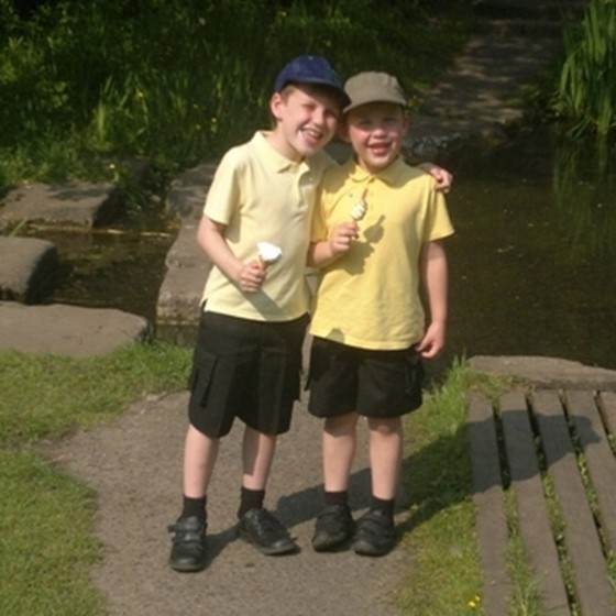 Photo of Ryan and Adam on walk to school