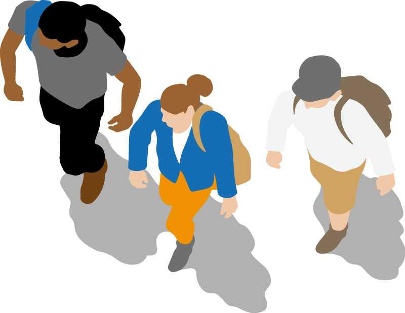 Three people walking