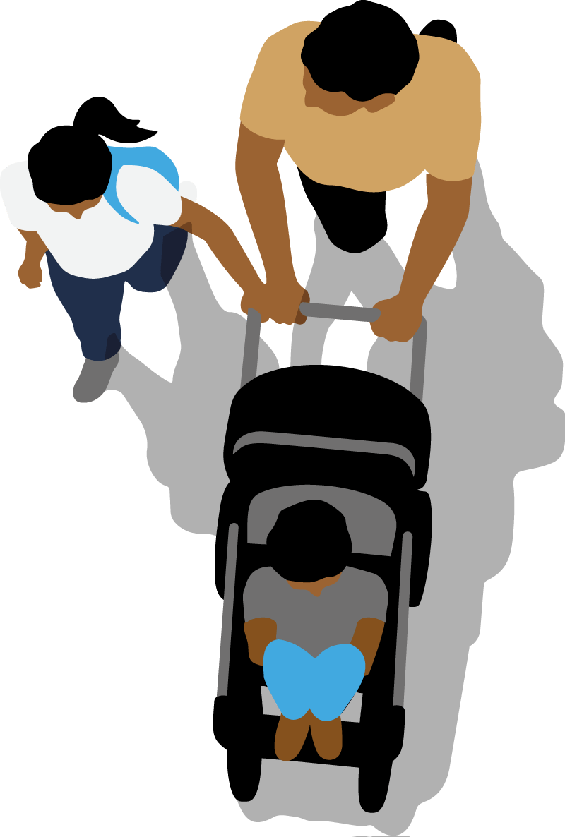 Parent and pushchair and child