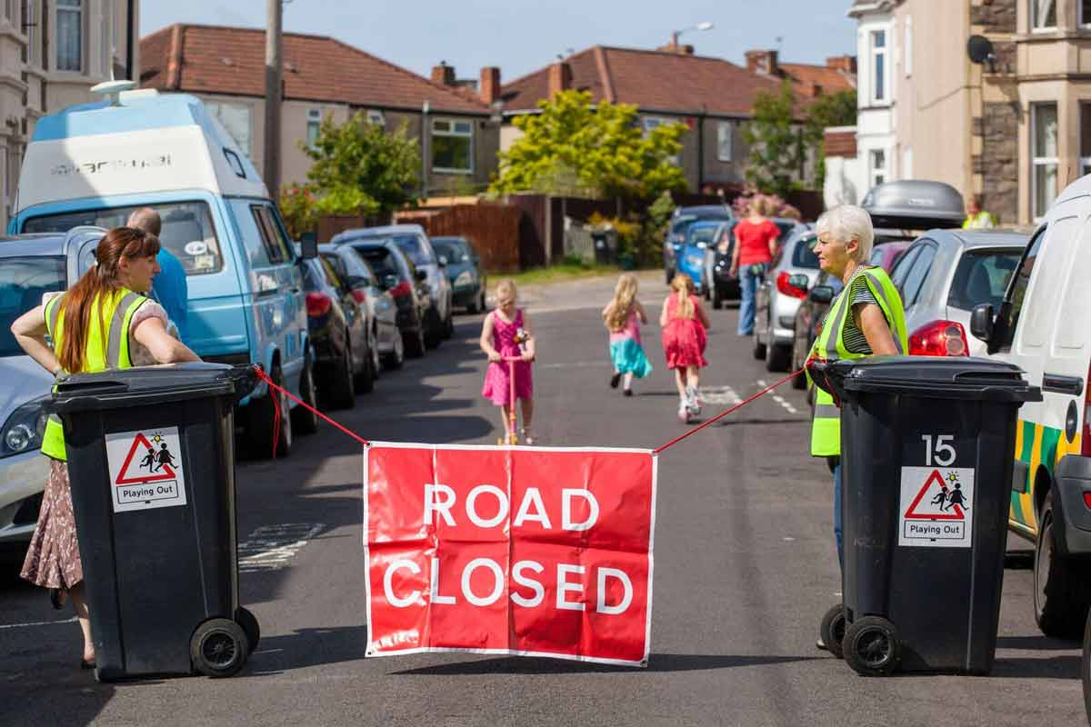Road closed for a Playing Out event - photo courtesy of Playing Out