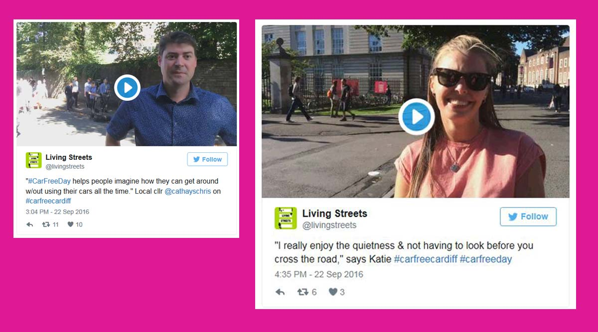 Tweets from our Car-Free Cardiff event