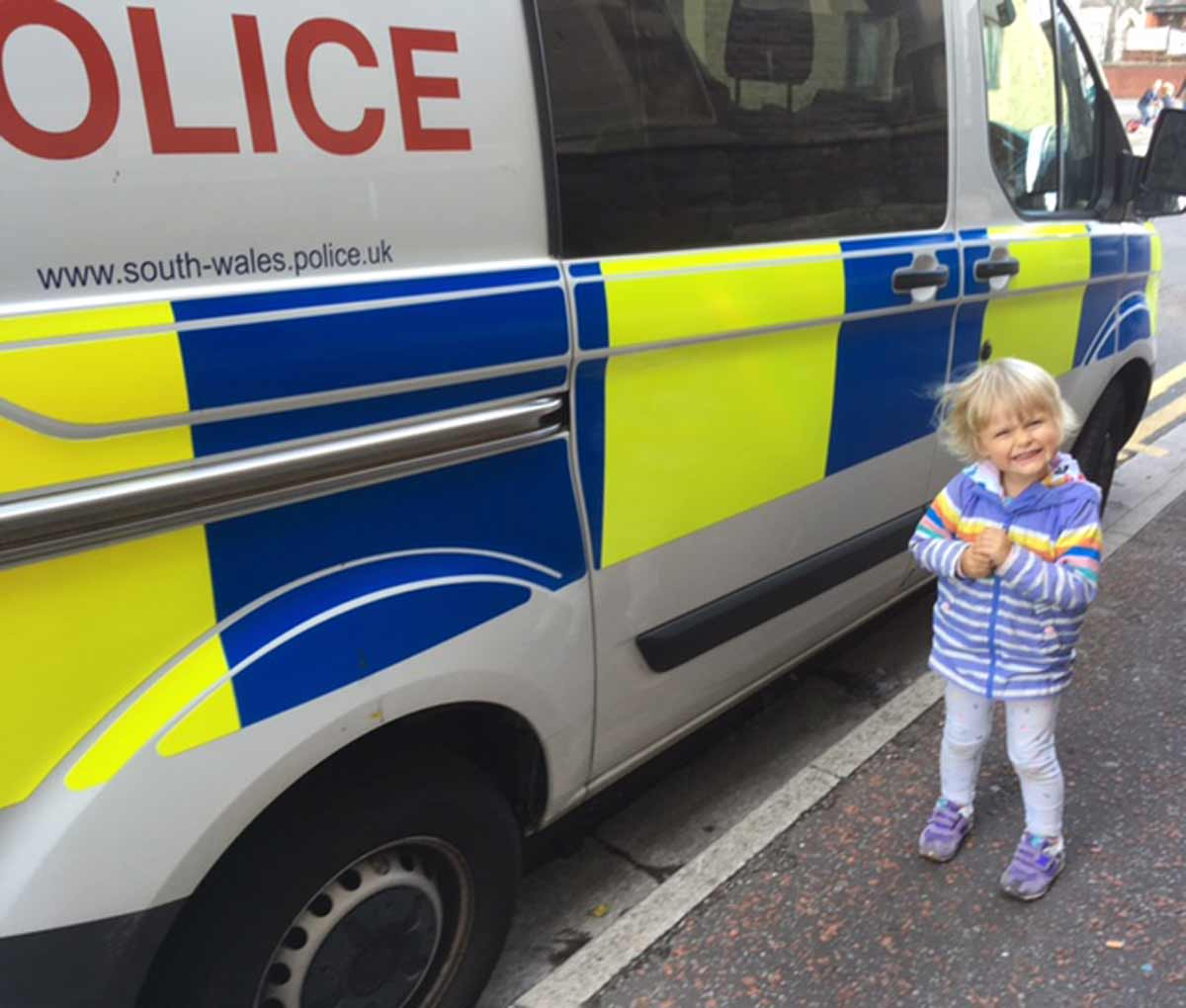Ruth's daughter and a police van
