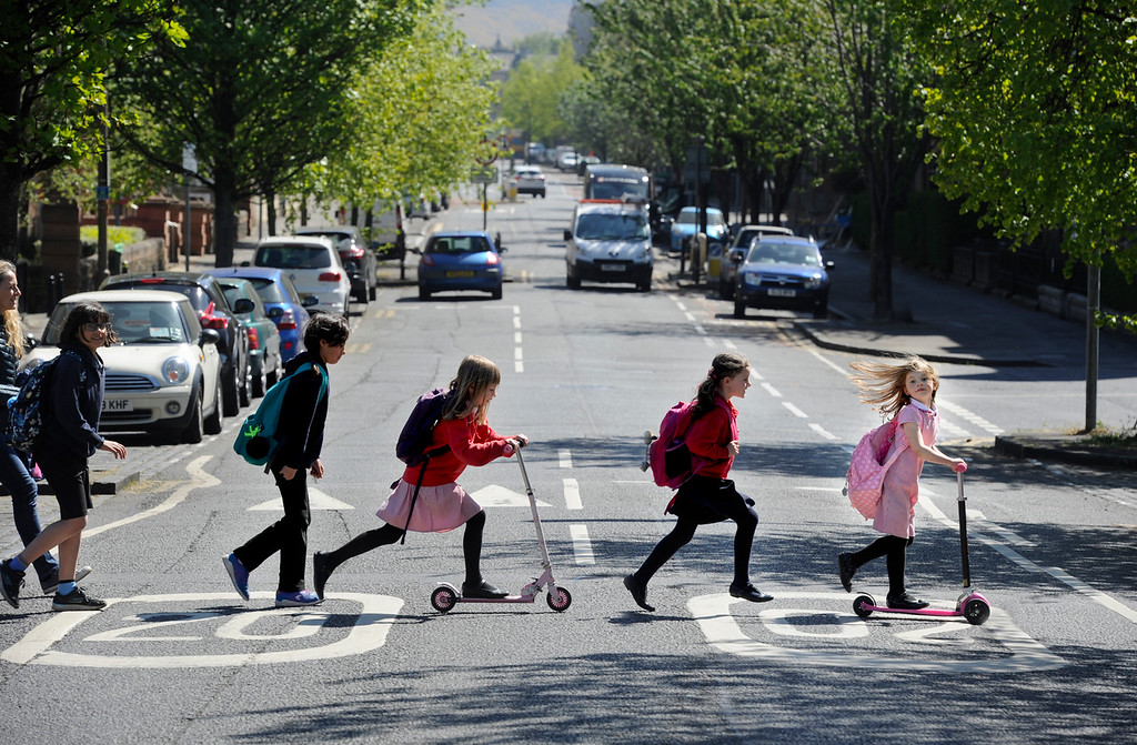 Children walking to school on a 20mph street