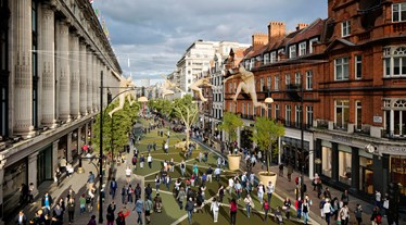 Artist's impression of a vehicle-free Oxford Street