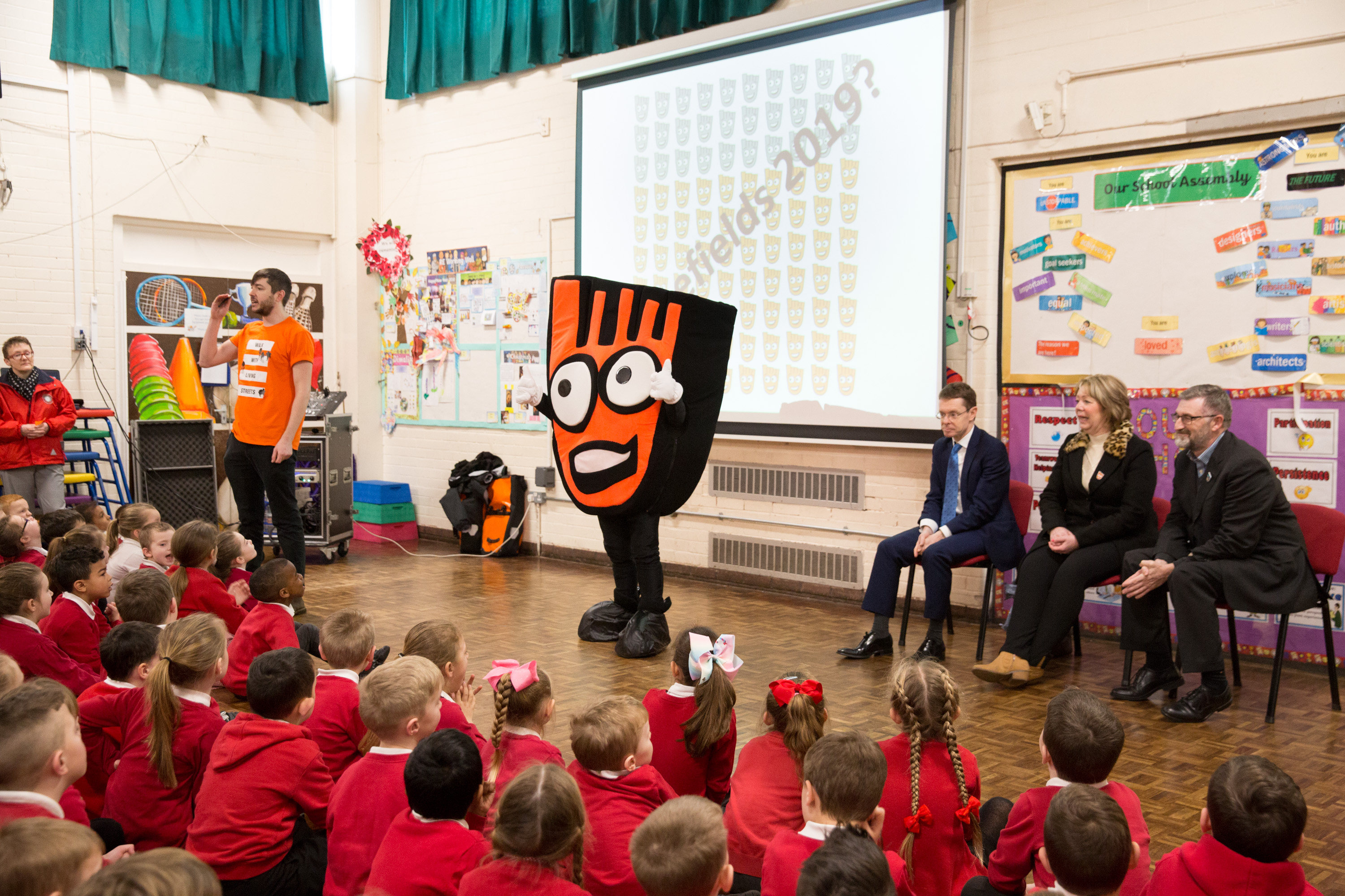 Pupils and Strider get moving in a special assembly