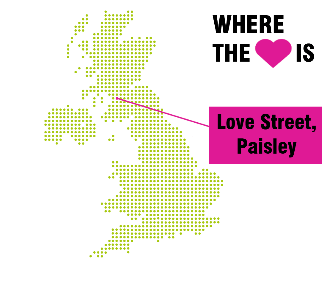 Map of the UK's most romantic street names
