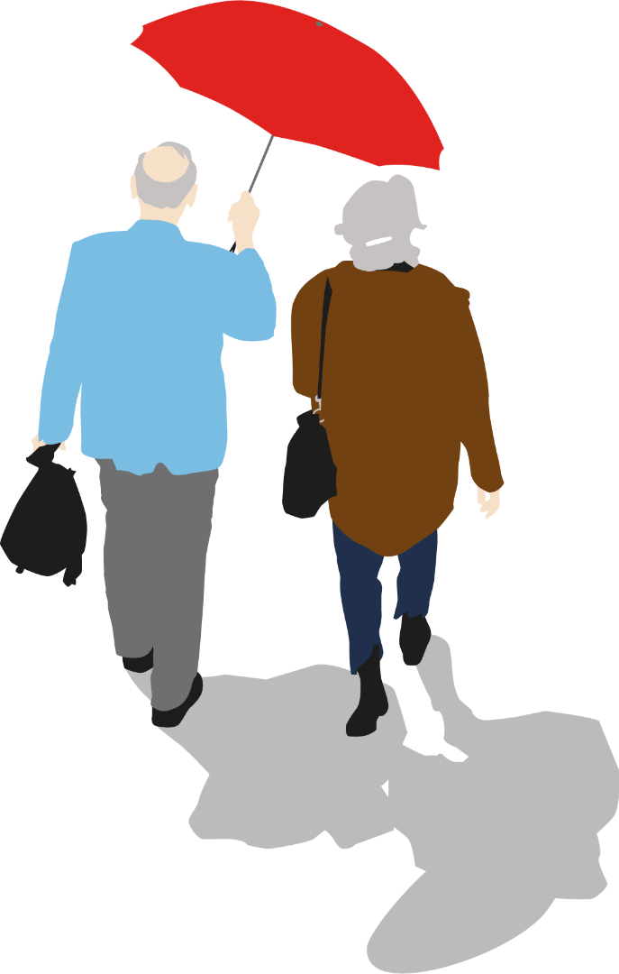 Older couple walking with umbrella
