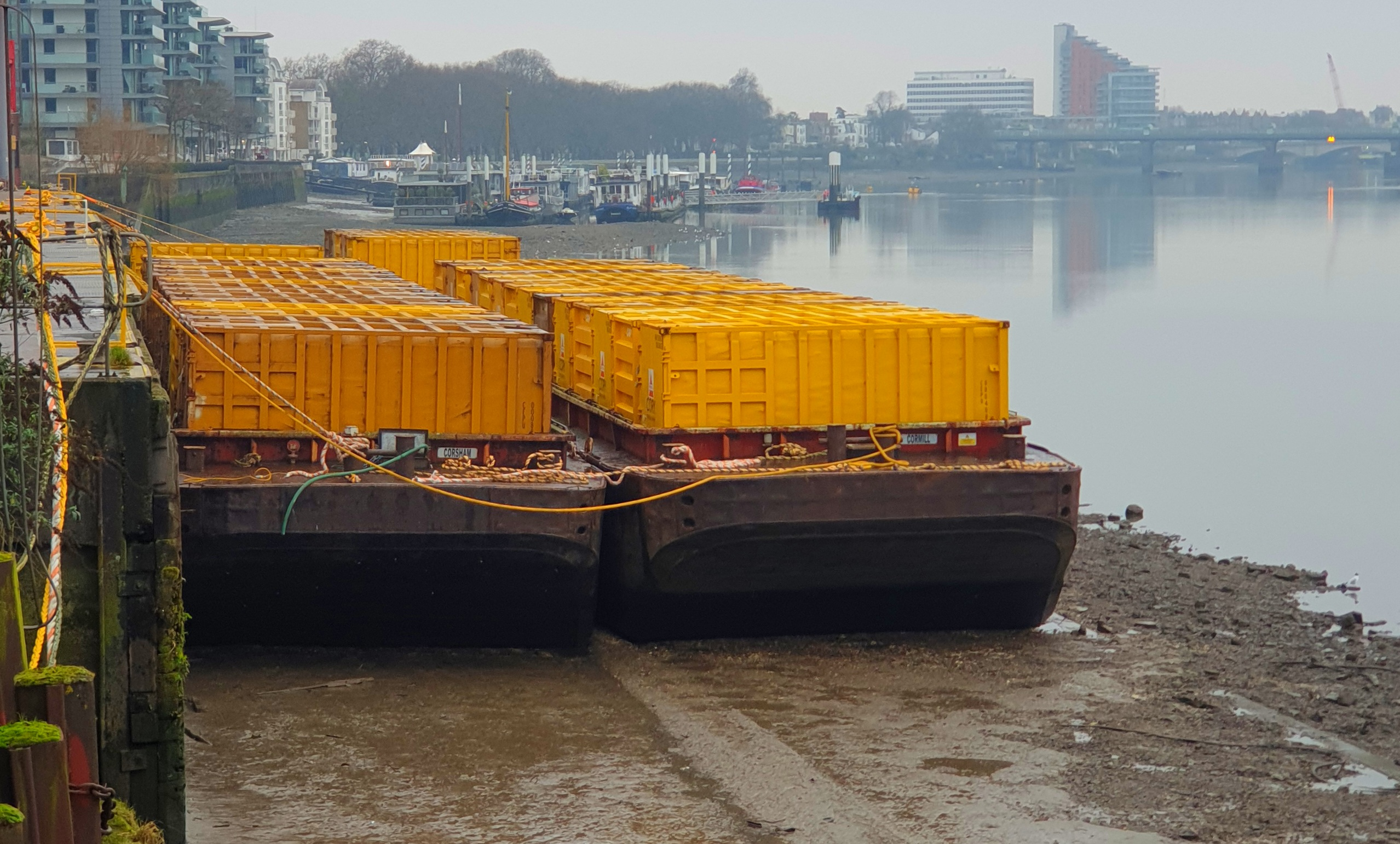 Yellow barges